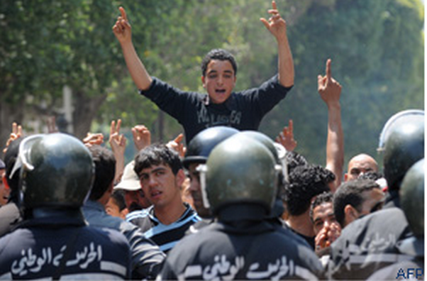 "AFP photo of demonstrations in Tunis May 7  ""We now need a revolution to follow the revolution,"" said Abdoulrahim Jalouli"