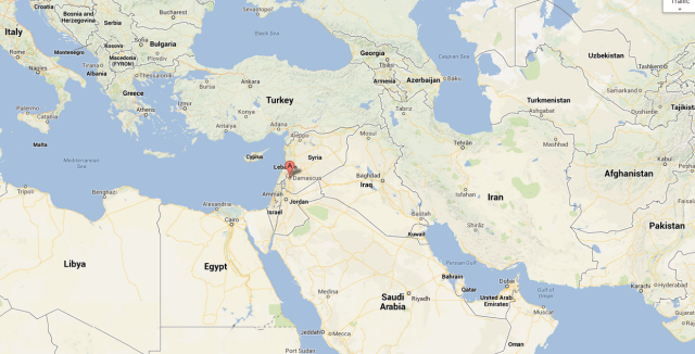 Map shows Syria surrounded by volital nations and global conflict