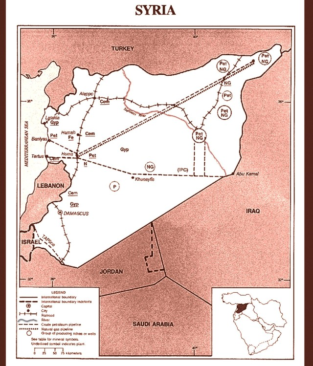 Map Shows Locations of Euphrates River and Energy Production and Transport Infrastructure